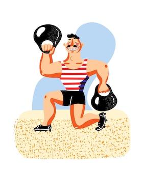 Cyrkowy sportowiec uśmiechający się silny sztangista z wąsami podnoszący ciężkie hantle