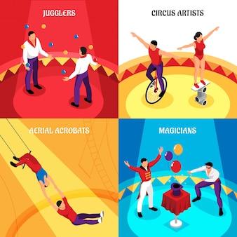 Cyrkowych zawodów żonglerów cyrkowych artystów akrobatów powietrznych i magików izometryczny koncepcja na białym tle