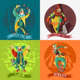 Cyrku klaunów 4 ikony koncepcja kwadratu