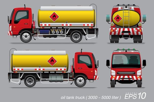 Cysterna na olej 6-kołowy szablon czerwona kabina żółty zbiornik ze znakiem łatwopalności.