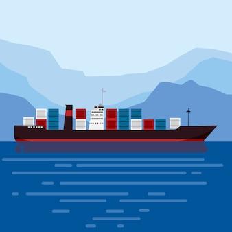 Cysterna statku towarowego z kontenerami na oceanie. dostawa, transport, spedycja, transport towarowy