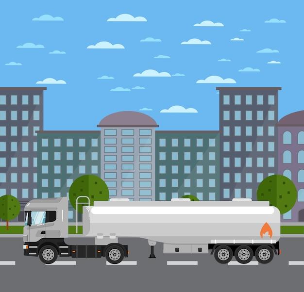 Cysternowa ciężarówka na drodze w mieście