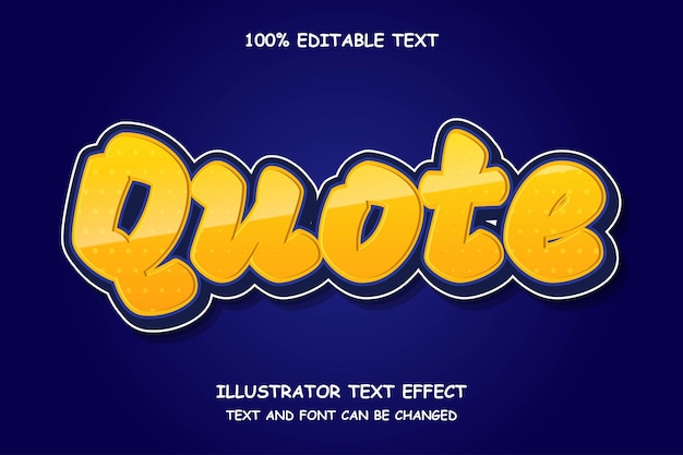 Cytat, 3d edytowalny tekst efekt stylu kreskówki