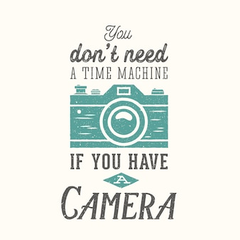 Cytat, aparat fotograficzny, etykieta, karta lub szablon logo z fotografii w stylu vintage z retro typografii i tekstury