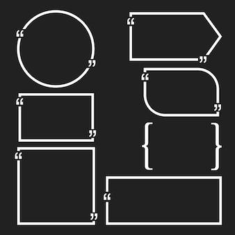 Cytat bańki puste szablony. pusta wizytówka, arkusz papieru, informacje, tekst. drukuj projekt wektor zestaw.