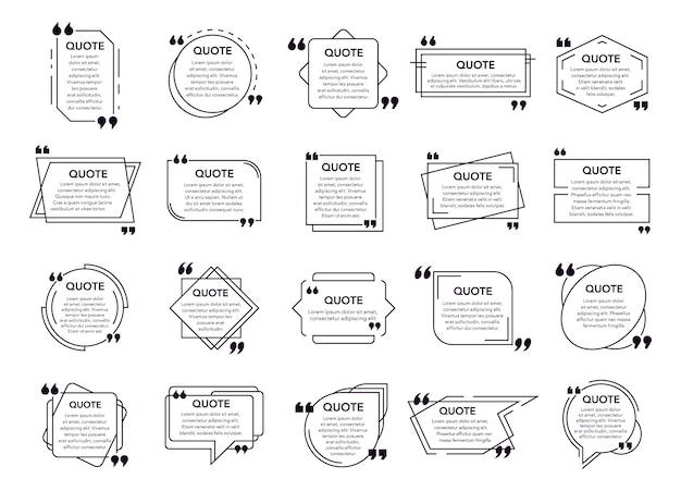 Cytat cytowany w ramce. pola tekstowe, ramka z uwagami i cytowane elementy geometryczne. cytuj nowoczesne dymki i zestaw ikon ramek cytatu. pakiet chmurki z czarnym i białym tekstem cytatów