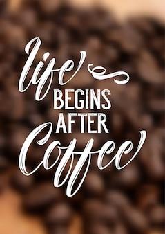 Cytat kawy na rozmyte tło