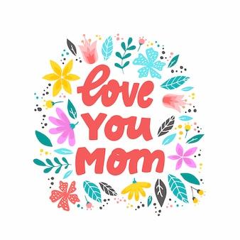 """Cytat """"kocham cię mamo"""" z kwiatami"""
