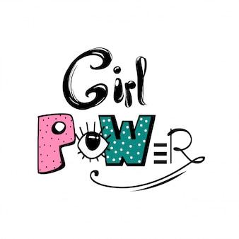 Cytat: moc dziewczyny feminizm, motywacyjne hasło kobiety. feministyczne powiedzenie. kolorowe zabawy ręcznie rysowane napis. ilustracja w stylu komiksów