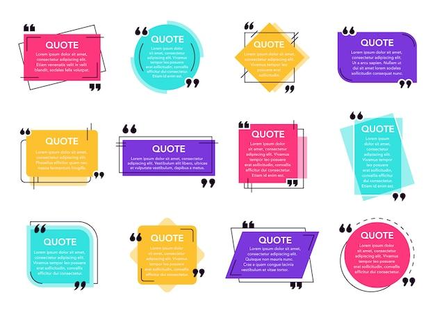 Cytat pole tekstowe. cytowana etykieta ramki, bańka dialogowa z cytatami z sieci społecznościowej, ramki tekstowe uwagi i zestaw ikon szablonów ramek cytatów. kolekcja geometrycznych środowisk komentarz