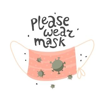 Cytat proszę nosić maskę samoopieka działania zapobiegawcze maska medyczna pandemia koronawirusa vecto