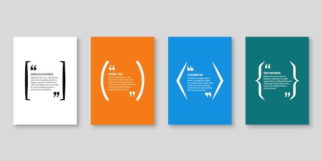 Cytat ramki. pole tekstowe, kształt bąbelka z cytatem dla frazy notatki bloga i wiadomości tytułowej z miejscem na kopię, banery cytatów wektor izolowany szablon
