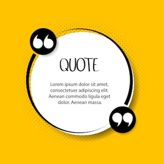 Cytat tekst bańki. przecinki, notatka, wiadomość i komentarz na żółtym tle. ilustracja wektorowa.
