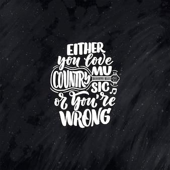 Cytat z napisem muzyka country na plakat festiwalu na żywo