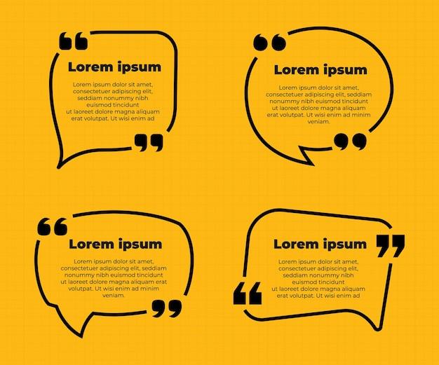 Cytat z żółtej kolekcji ramek z ikonami cytatu
