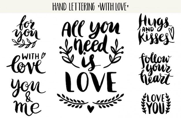 Cytaty. kolekcja miłość napis valentine.