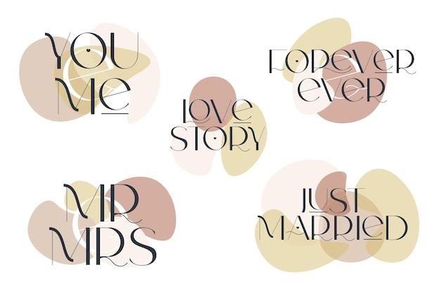 Cytaty miłosne ustawić elegancję ślubną typografię wektor wzór