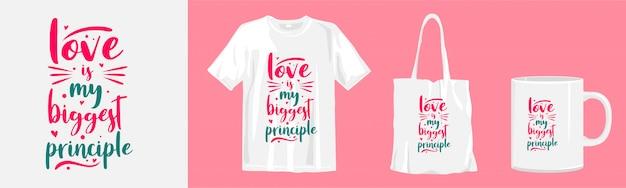Cytaty o miłości. koszulka z nadrukiem typografii, torba z materiału i wzór miseczki do nadruku