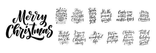 Cytaty świąteczne. zimowe hasła świąteczne. ręcznie rysowane kaligraficzne napis.