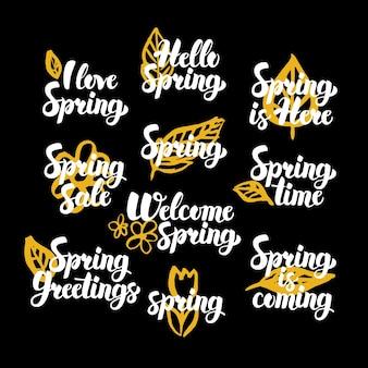 Cytaty wiosenne ręcznie rysowane. ilustracja wektorowa odręczny napis elementów projektu wiosna.