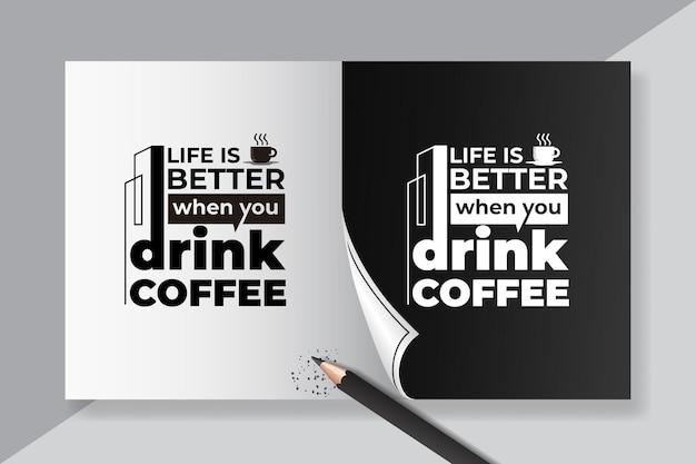 Cytaty z kawy, napis vintage