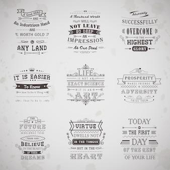 Cytaty z życia ustawione na białym tle na szarym tle