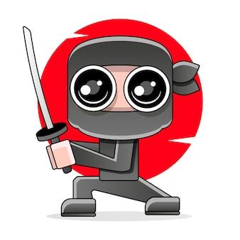 Cyte kreskówka ninja ilustracja.
