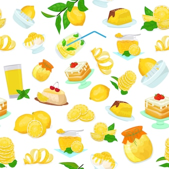 Cytryn owocowych słodyczy karmowych deserów mieszkania stylu stylowa ilustracja. żółte cytrynowe ciasta cytrusowe, dżem, lody, herbatniki, plastry i liście, sok, lemoniada.