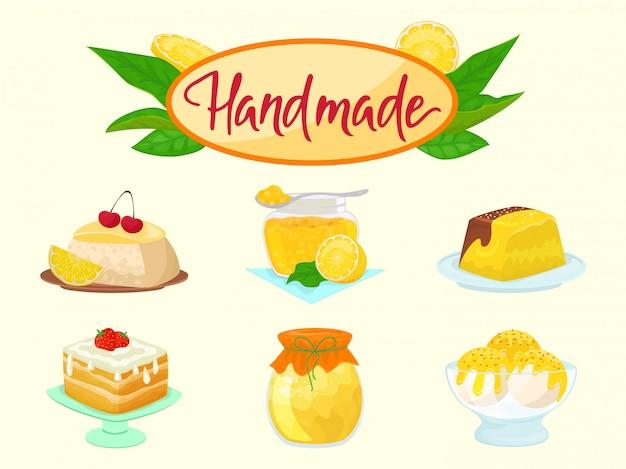 Cytryna handmade karmowi cukierki i desery ilustracyjni. żółte cytrynowe naturalne owoce cytrusowe ciasta, dżem i lody z syropem cytrynowym na białym tle zestaw.