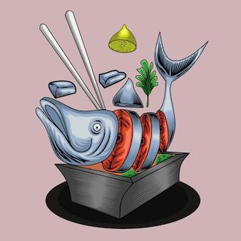 Cytryna i łosoś jedzenie ilustracja