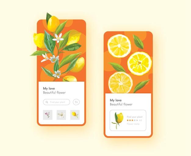 Cytryna owoce i kwiaty z zielonymi liśćmi na gałęziach szablon strony aplikacji mobilnej na pokładzie ekranu. pokrojone lub całe owoce cytrusowe, naturalna żywność witaminowa, koncepcja projektowania aplikacji rynku ekologicznego. ilustracja wektorowa