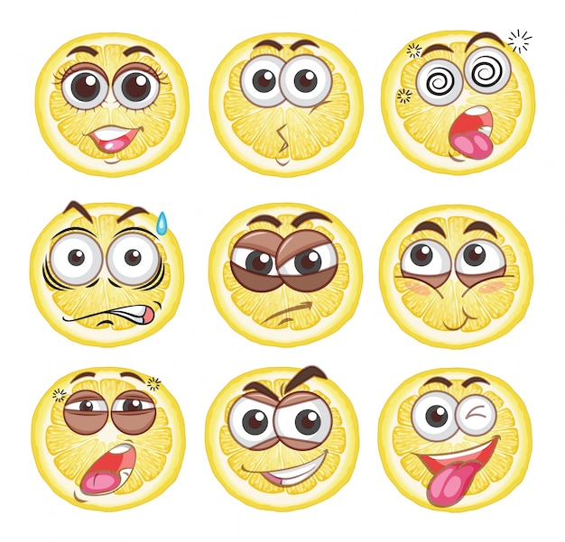 Cytryna pocięta różnymi emocjami