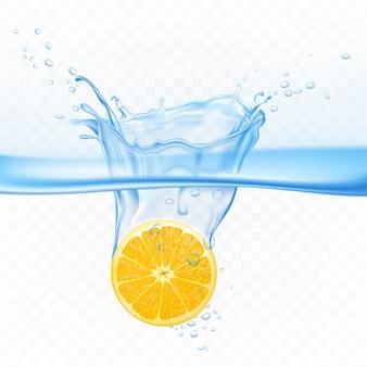 Cytryna w wybuchu plusk wody na przezroczystym tle. owoce cytrusowe pod powierzchnią wody z bąbelkami powietrza. element projektu na reklamę pić sok realistyczne 3d ilustracji wektorowych