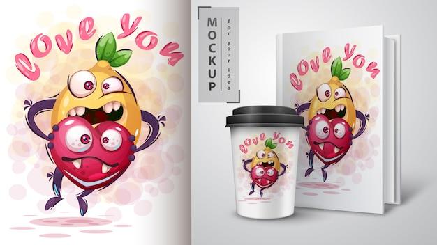 Cytryna z sercem plakat i merchandising