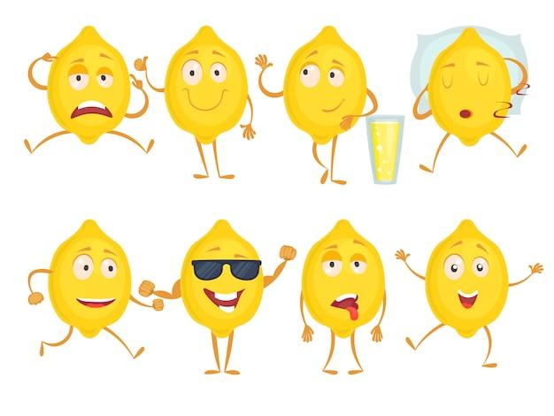 Cytrynowe zabawne postacie, świeże owoce emocje smutek radość niespodzianka i różne pozy, maskotka żółta cytryna ze szczęśliwą twarzą