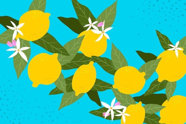 Cytryny i kwiaty bez szwu