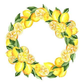 Cytryny i liście wieniec akwarela ilustracja