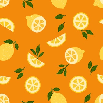 Cytryny, owoce tropikalne i liście na pomarańczowy wzór