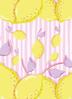 Cytryny punchy pastelowy wektorowy ilustracyjny graficzny projekt