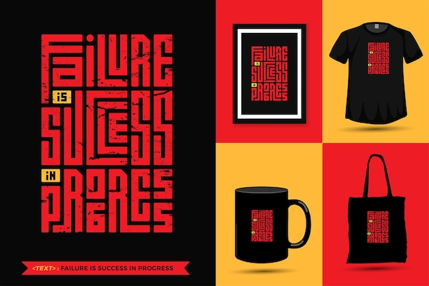 Cytuj inspiracja tshirt niepowodzenie jest sukces w toku do druku. szablon projektu pionowego napis nowoczesnej typografii