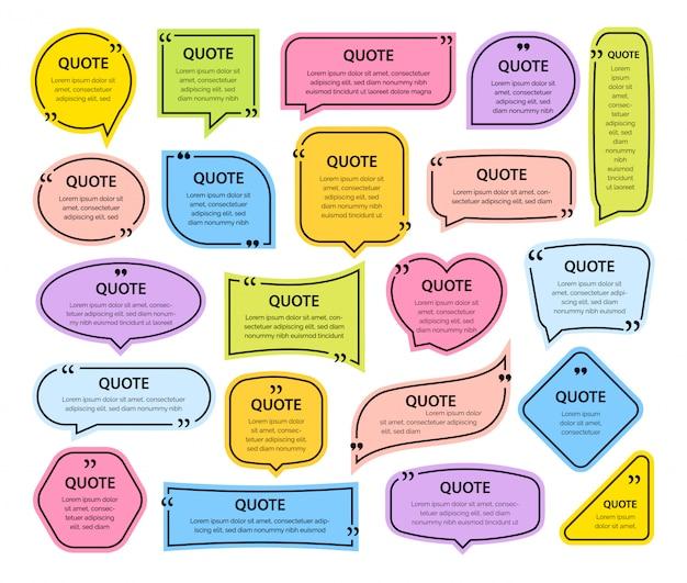 Cytuj kolorowe ramki tekstowe puste szablony z cytatami do druku informacji projektowych.