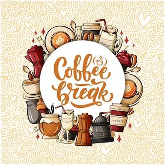Cytuj o kawie. styl kaligrafii.