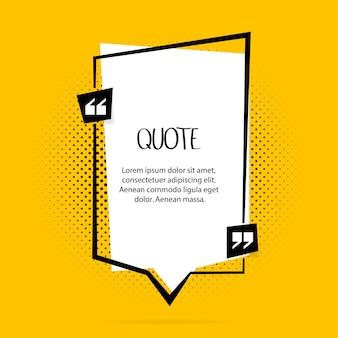Cytuj tekst bańki. przecinki, uwaga, wiadomość i komentarz na żółtym tle.