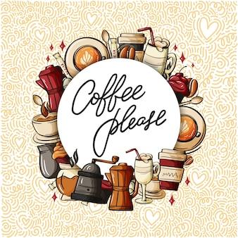 Cytuj typografię filiżanek kawy.