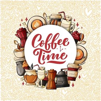 Cytuj typografię filiżanki kawy. cytat w stylu kaligrafii.