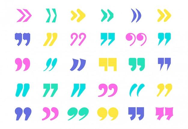 Cytuj znaki na białym tle. kolekcja ikon cudzysłowu kolorów