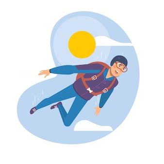 Człowiek skoki spadochronowe. Sport spadochroniarski.