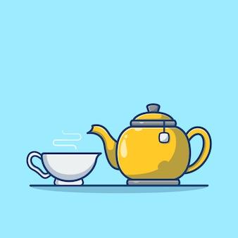 Czajniczek i filiżanka herbaty kreskówka na niebieskim tle