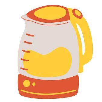 Czajnik elektryczny. urządzenia kuchenne, wyposażenie. czerwony czajniczek. ilustracja na białym tle płaski wektor
