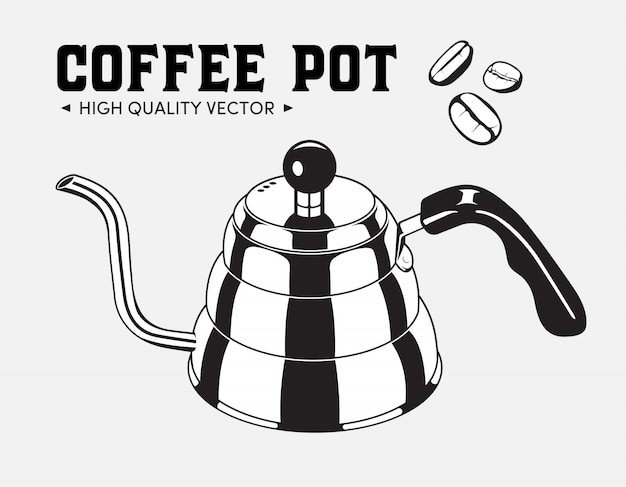 Czajnik Vintage Dzbanek Do Kawy Premium Wektorów
